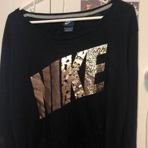 long-sleeve black nike short shirt